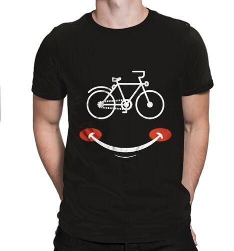 BikeStyle - BikeStyle Tshirt Özel Tasarım Gülen Yüz -Siyah