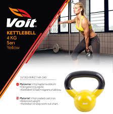 Voit - Voit Vinyl Kettlebell 4 kg Sarı